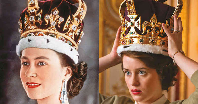 Comparación de la corona real y su reproducción en The Crown.