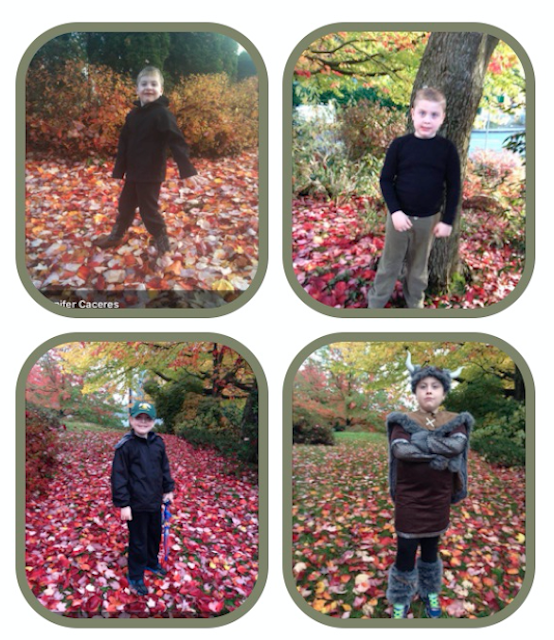 10 photos taken one each year of a boy standing in red, yellow, brown leaves. In the early photos he is all bundled up. After a few years in the rest of the photos he is wearing shorts!