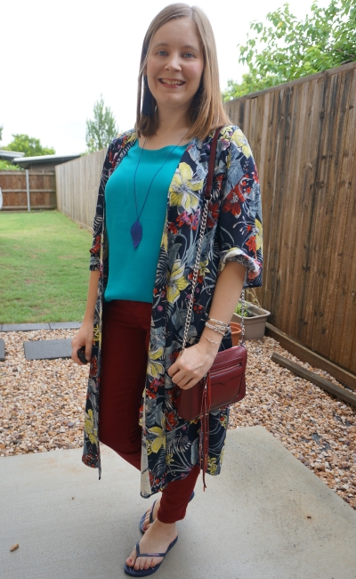 Jeanswest Melanie floral kimono with Vickie turquoise tank and russet skinny jeans regan cross body bag | awayfromblue