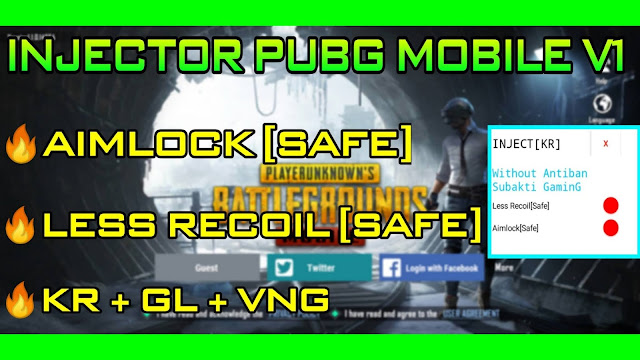 HACK INJECTOR V1 PUBG MOBILE 1.1.0 MENU AIMBOT + LESS RECOIL SAFE 100% BY SUBAKTI | HQT LAG