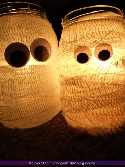 Mummy Candle Jars {Crafty October} at The Purple Pumpkin Blog