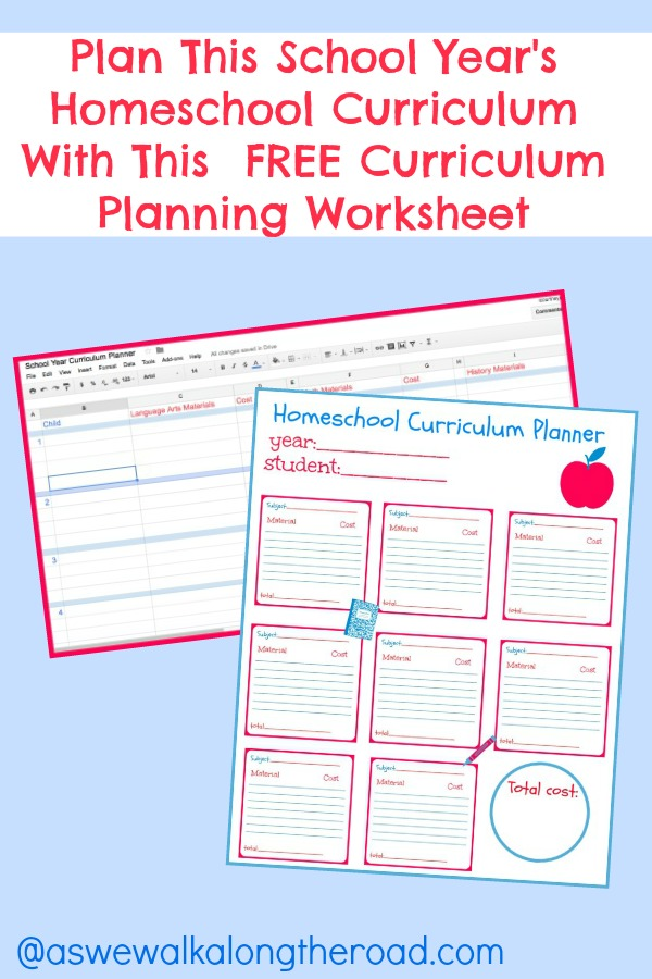 Free printable homeschool curriculum planners