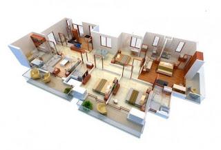 plan rumah banglo setingkat 4 bilik