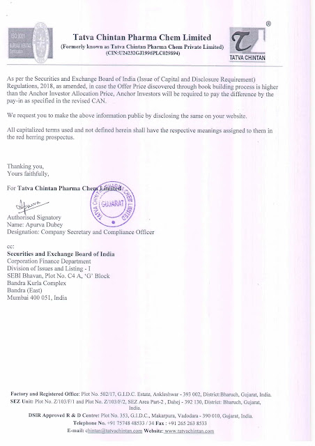 Tatva Chintan Pharma Anchor Investors