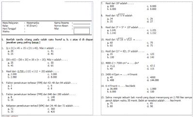 Download Soal Matematika Kelas 6 SD ini untuk memudahkan anda dalam melakukan evaluasi terhadap pesertadidik anda. Format contoh soal ini dibuat dalam bentuk file Word jadi memudahkan anda untuk mengedit soal apabila ada soal yang kurang cocok dengan anda. Cara Download Soal Matematika Kelas 6 SD ini cukup klik pada tiap link download yang tersedia dibawah kemudian akan terdownload secara otomatis.  http://www.sekolahdasar.net/2016/01/kumpulan-soal-matematika-ujian-sekolah-sd-mi-2016.html  Soal Matematika Kelas 6 SD ini terdiri dari Pilihan Ganda dan Uraian untuk Soal Ulangan Harian 1 Matematika, Soal Ulangan Harian 2 Matematika, Soal Ulangan Tengah Semester 1/ Soal UTS 1 Matematika, Soal Ulangan Akhir Semester 1/ Soal UAS Matematika Semester 1.   http://www.kumpulansoalulangan.com/2013/03/uts-genap-matematika-kelas-1-sd.html