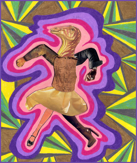 Psychedelic collage dancers