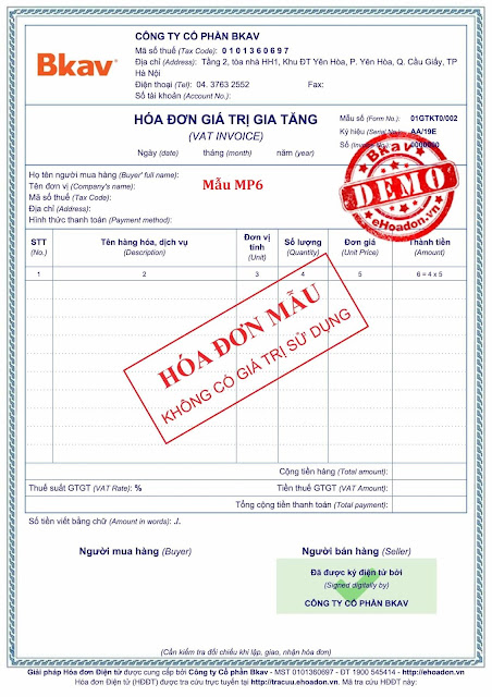 Mẫu hóa đơn điện tử Bkav-eHoadon