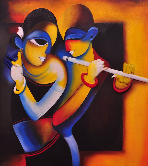 Figurative Painting with contrast colors