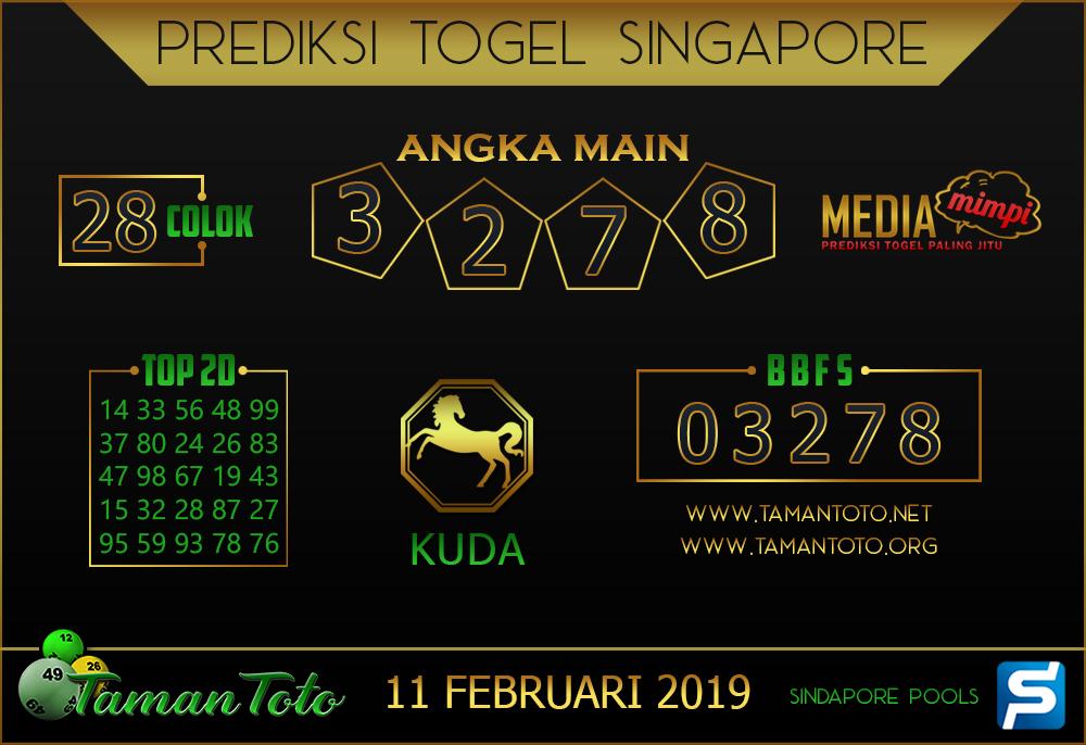 Prediksi Togel SINGAPORE TAMAN TOTO 11 FEBRUARI 2019