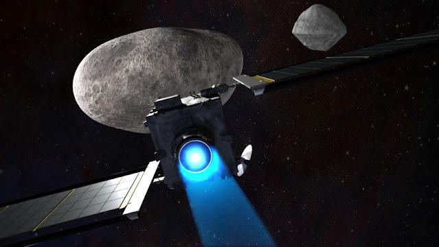 Ilustração artística da nave DART indo em direção a Didymos b para sua colisão