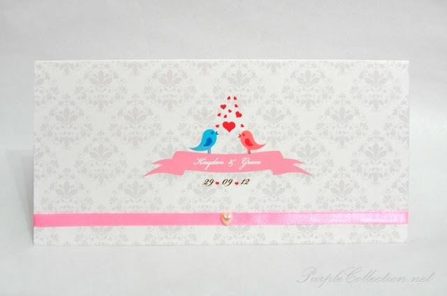 Love, Birds, Wedding, Invitation Card, Card, Invitation, Pink ribbon, Heart shaped Pearl, G0517 Love Birds Wedding Invitation Card