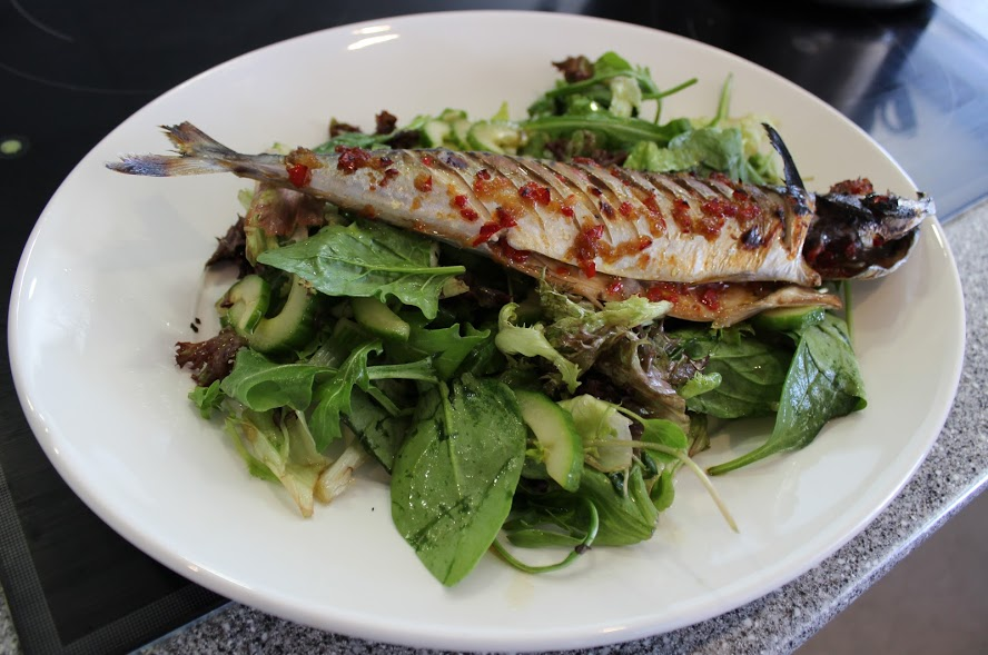 Grilled mackerel with chilli and ginger baste