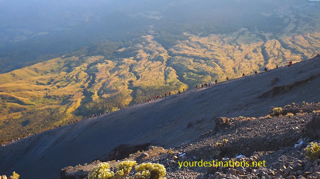 The Climber to Rinjani Peak in the Morning