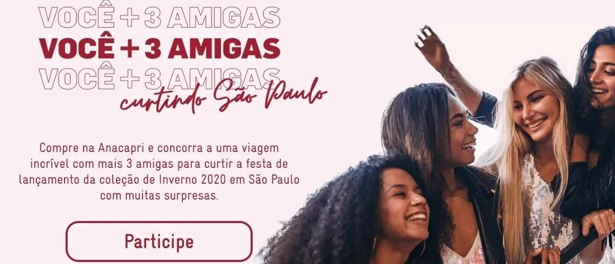 Promoção Anacapri 2020 Você + 3 Amigas Viagem SP Show IZA