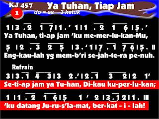 Lirik dan Not Kidung Jemaat 457 Ya Tuhan, Tiap Jam