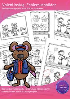 Arbeitsblätter für die Freiarbeit, Fehlersuchbilder mit Motiven zu Valentinstag