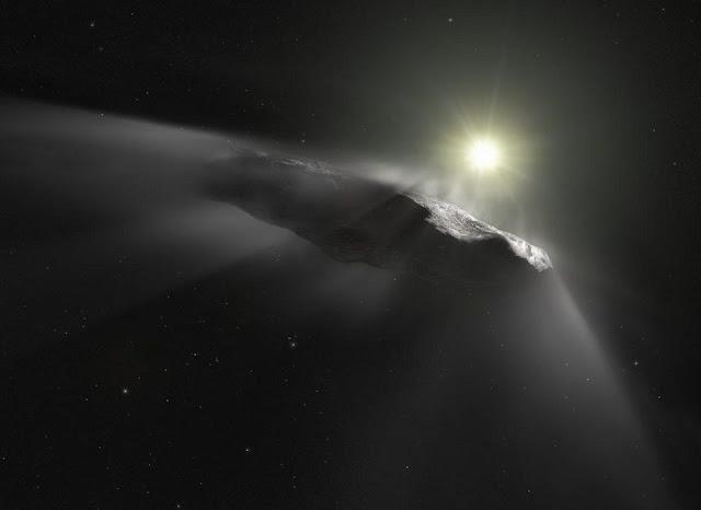 ilustração artística de Oumuamua - o primeiro visitante interestelar já descoberto em nosso Sistema Solar