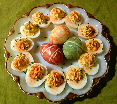 Platter of Deviled and Dyed Eggs