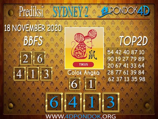 Prediksi Togel SYDNEY2 PONDOK4D 18 NOVEMBER 2020