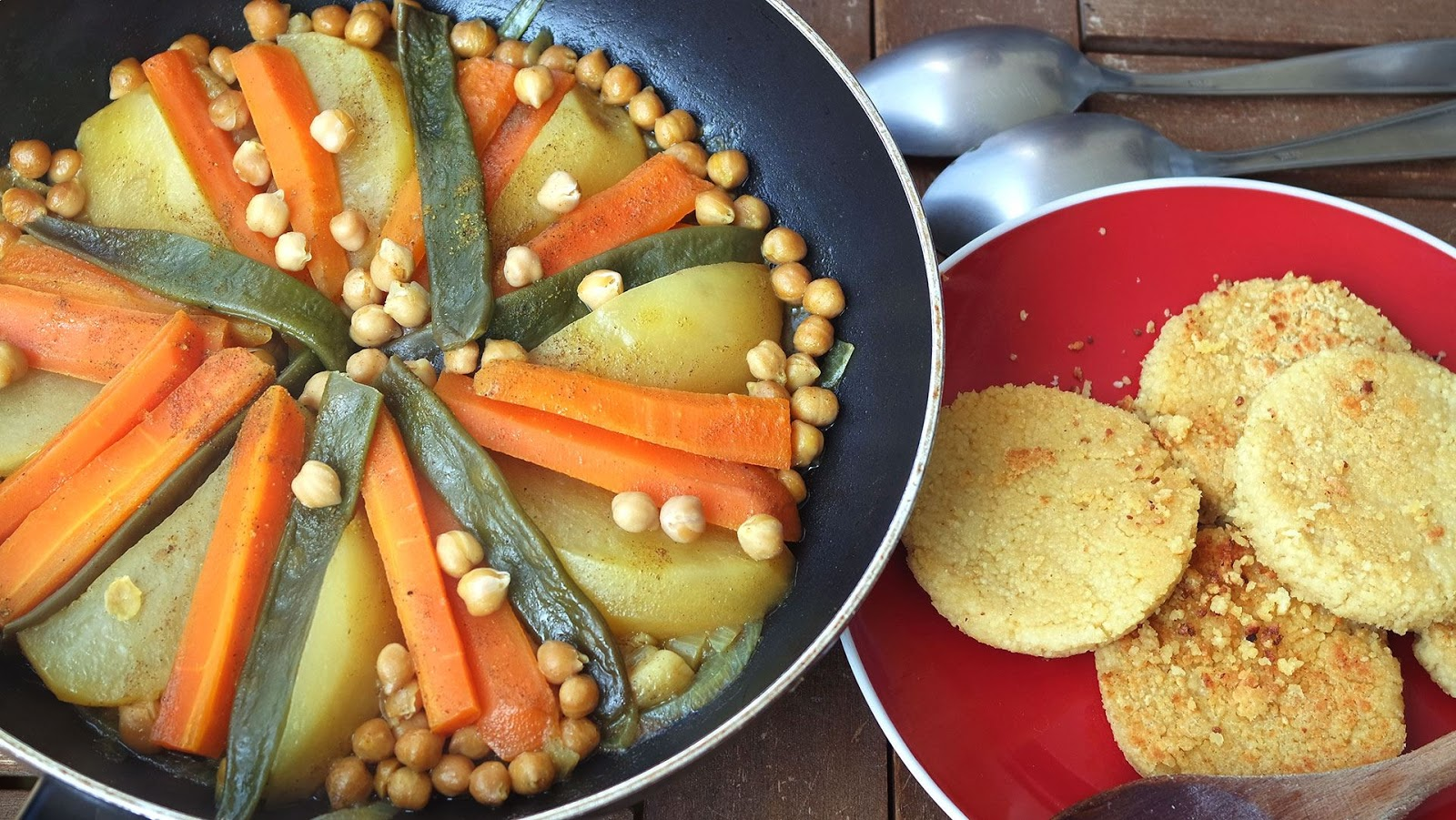 vegetable Tajine and semolina pancakes