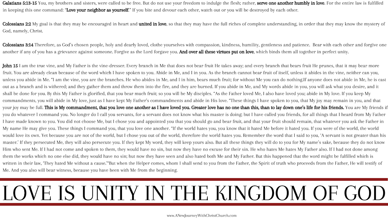 Unity Series II of III - Love is Unity in the Kingdom of God