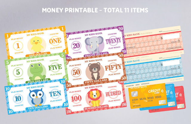 Mama Love Print 自製工作紙 -  多款錢幣道具紙幣﹑信用卡和支票 Kindergarten Worksheet Free Download Printable Money Cash Banknote