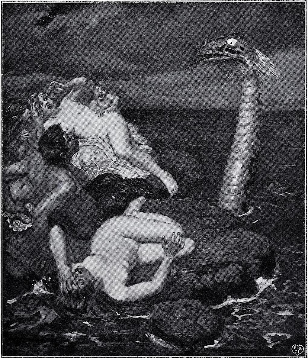 Alexander Frenz 1902 art, a water monster frightens people