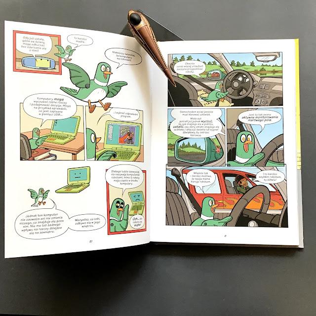 """Naukomiks """"Roboty i drony. Dawno temu, teraz i w przyszłości""""   Mairghread Scott, Jacob Chabot, Nasza Księgarnia, komiks naukowy dla dzieci"""