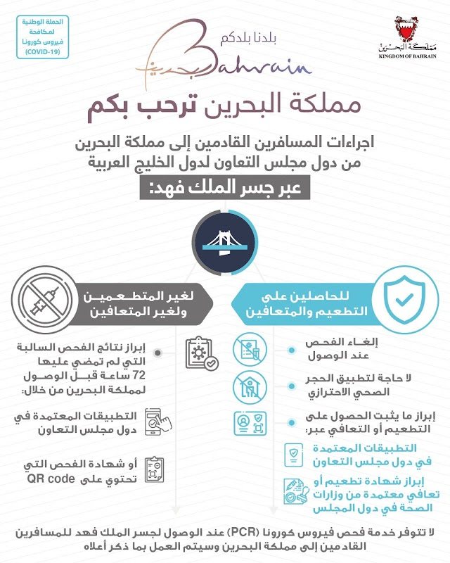 إجراءات المسافرين القادمين إلى مملكة البحرين  جسر الملك فهد