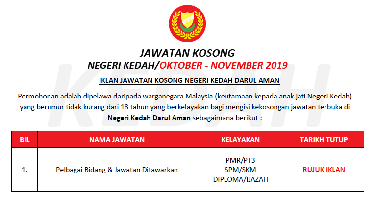 Jawatan Kosong Terkini Negeri Kedah Darul Aman Ejawatankini Com