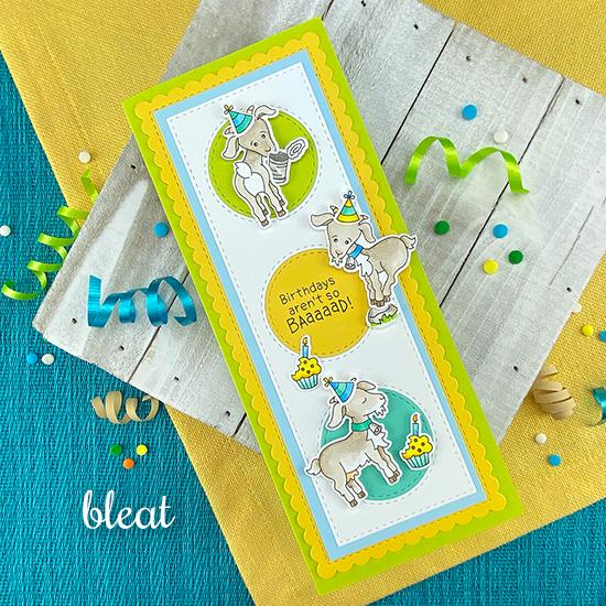 Goat Birthday Card by Jennifer Jackson | Slimline Frames & Portholes Die Set and Bleat Stamp Set by Newton's Nook Designs #newtonsnook