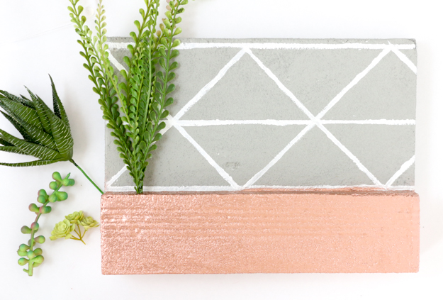 DIY Faux concrete and copper succulent key holder for your console table or entryway - industrial faux concrete key holder - modern