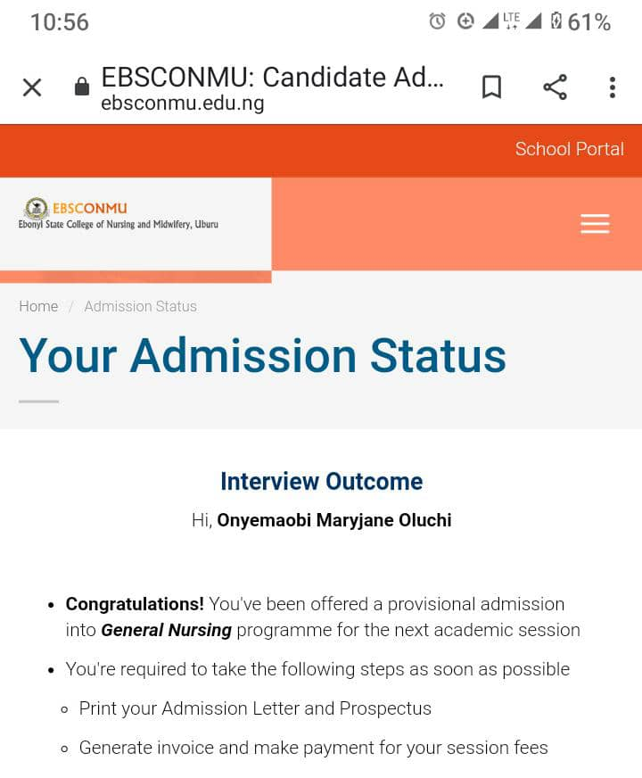 EBSCONMU Interview Result / Admission List 2021/2022 is Out
