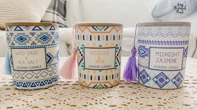 boho candle trio jars lids tassels