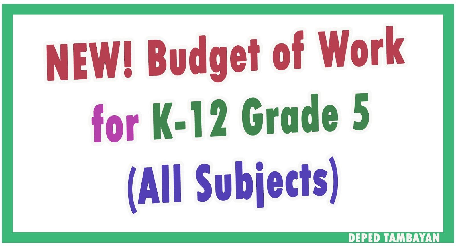 NEW K-12 Budget of Work for Grade 5 | DEPED TAMBAYAN PH