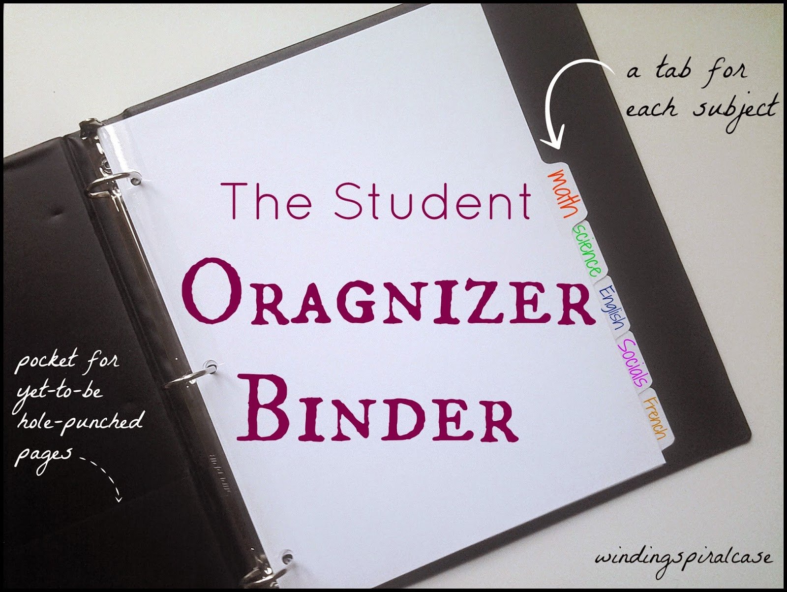 Winding Spiral Case The Student Organizer Binder