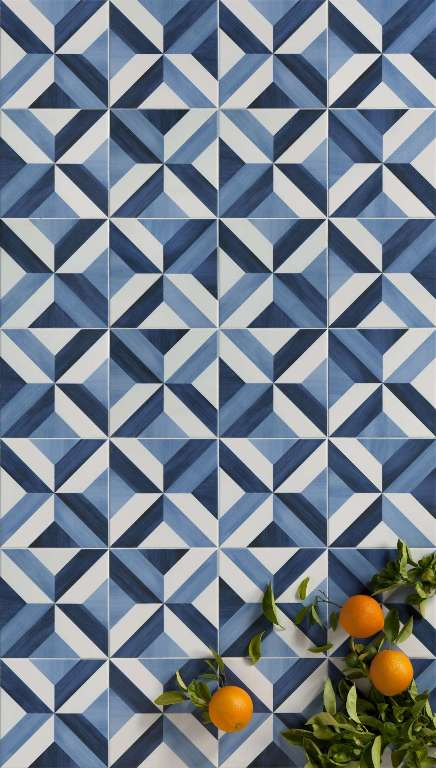 Trends in bathroom wall and floor tiles sydney for Blue patterned bathroom tiles