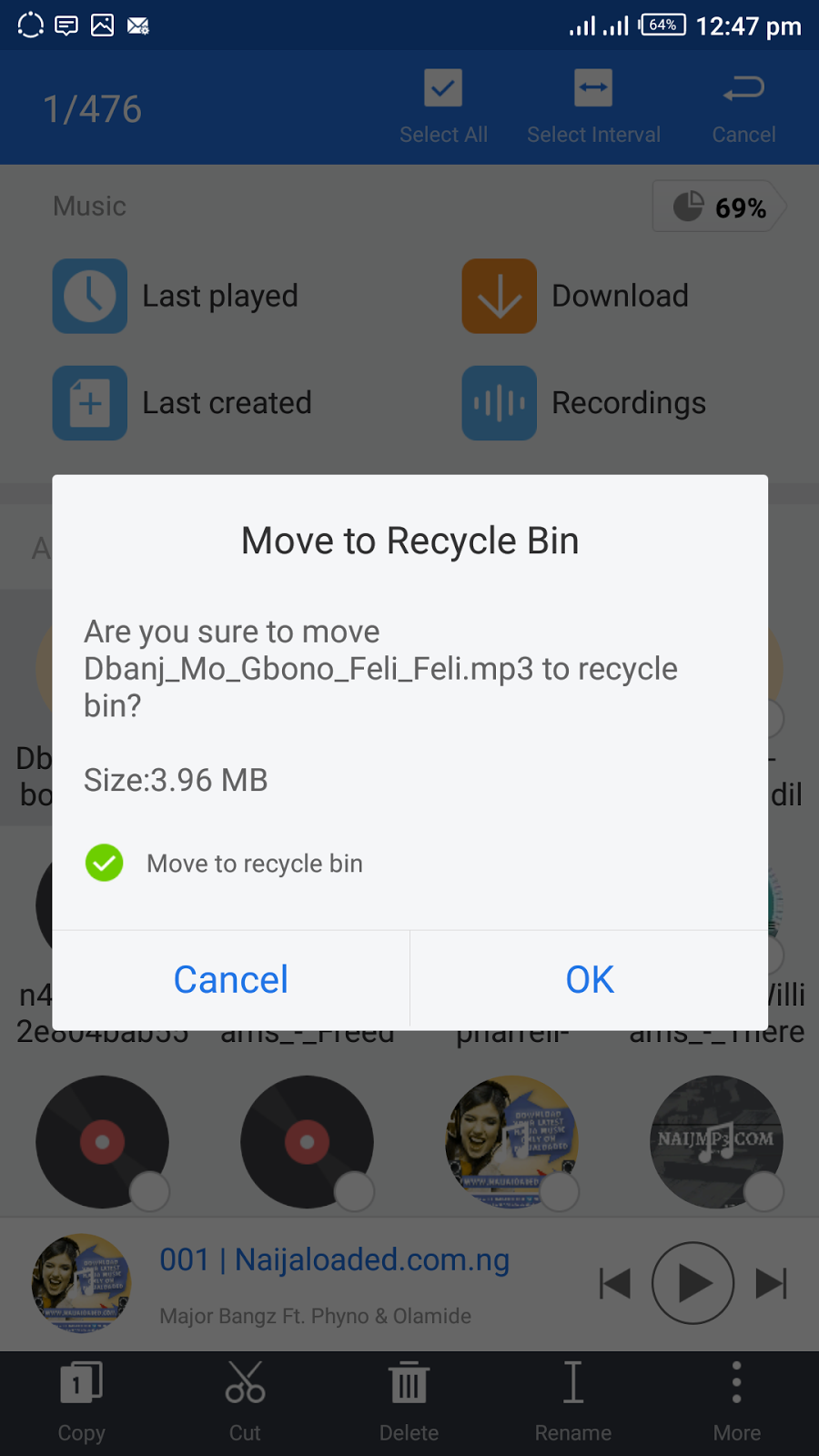 Deleting a file and moving it to the recycle bin