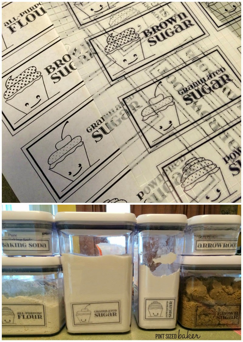 Cute labels to identify my baking ingredients. No confusing Flour with Powdered Sugar!