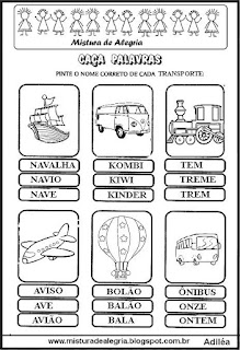 Caça palavras com nome de transportes