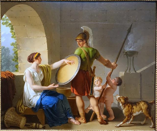 Mujer espartana dando un escudo a su hijo, de Jean-Jacques-Francois