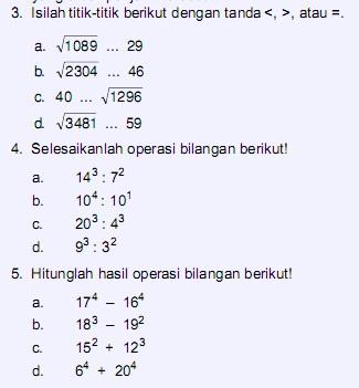Soal Matematika Kelas 5 SD Bab 2 – Pangkat dan Akar Bilangan Bulat  Kumpulan Soal