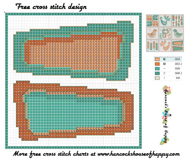 Mid-Century Madness: Free Country Style Mid-Century Cross Stitch Sampler Design Part IX