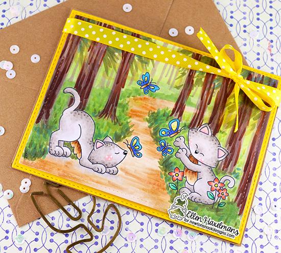 Cats Chasing Butterflies in Forest Card by Ellen Haxelmans | Newton's Flower Garden Stamp Set by Newton's Nook Designs #newtonsnook #handmade