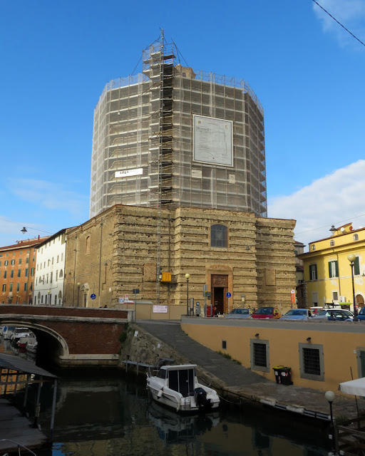 The octagonal dome of Santa Caterina surrounded by scaffolding, Livorno