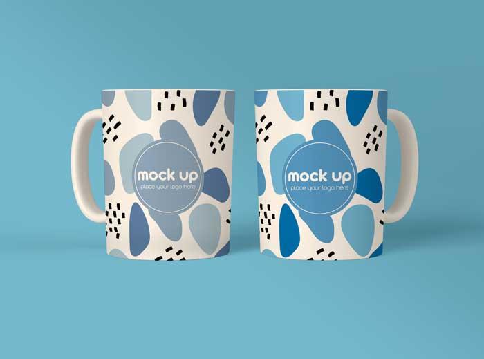 Two Coffee Mugs PSD Mockup