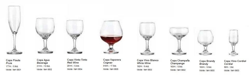 Servicio mesa y bar for Tipos de copas