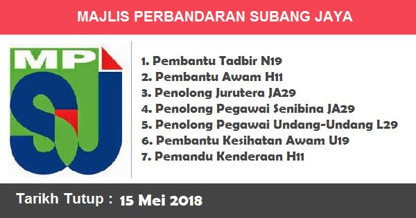 Jawatan Kosong di Majlis Perbandaran Subang Jaya (MPSJ)