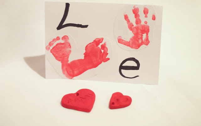 handmade valentine's day card from baby with foot and hand prints handmade valentine's day heart keyring
