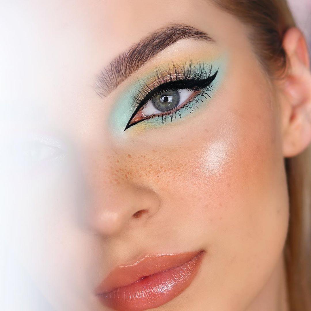 Maquiagem sombra pastel verde mint